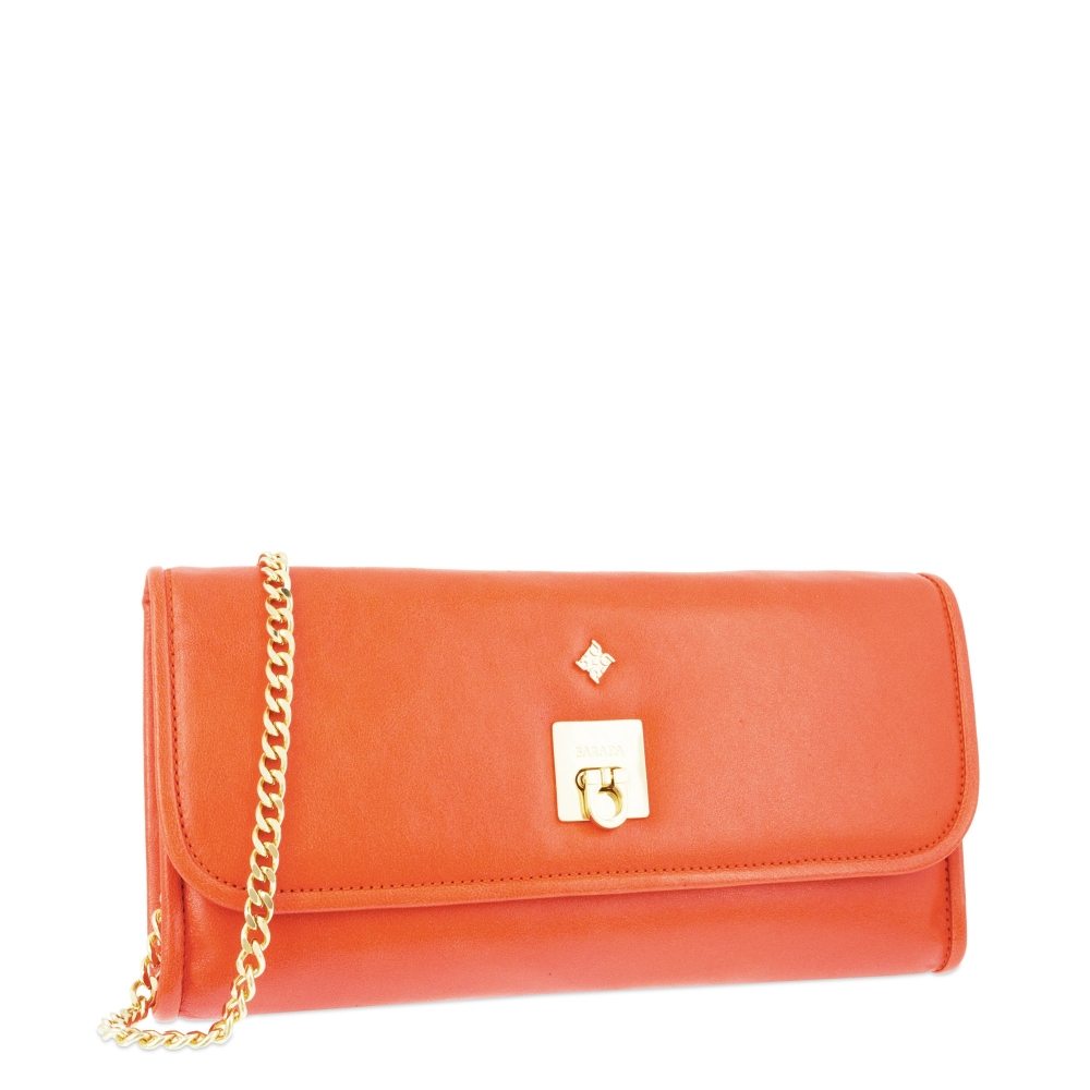 Evening Bag Collection Fiesta in Napa leather (Lambskin) and Orange colour