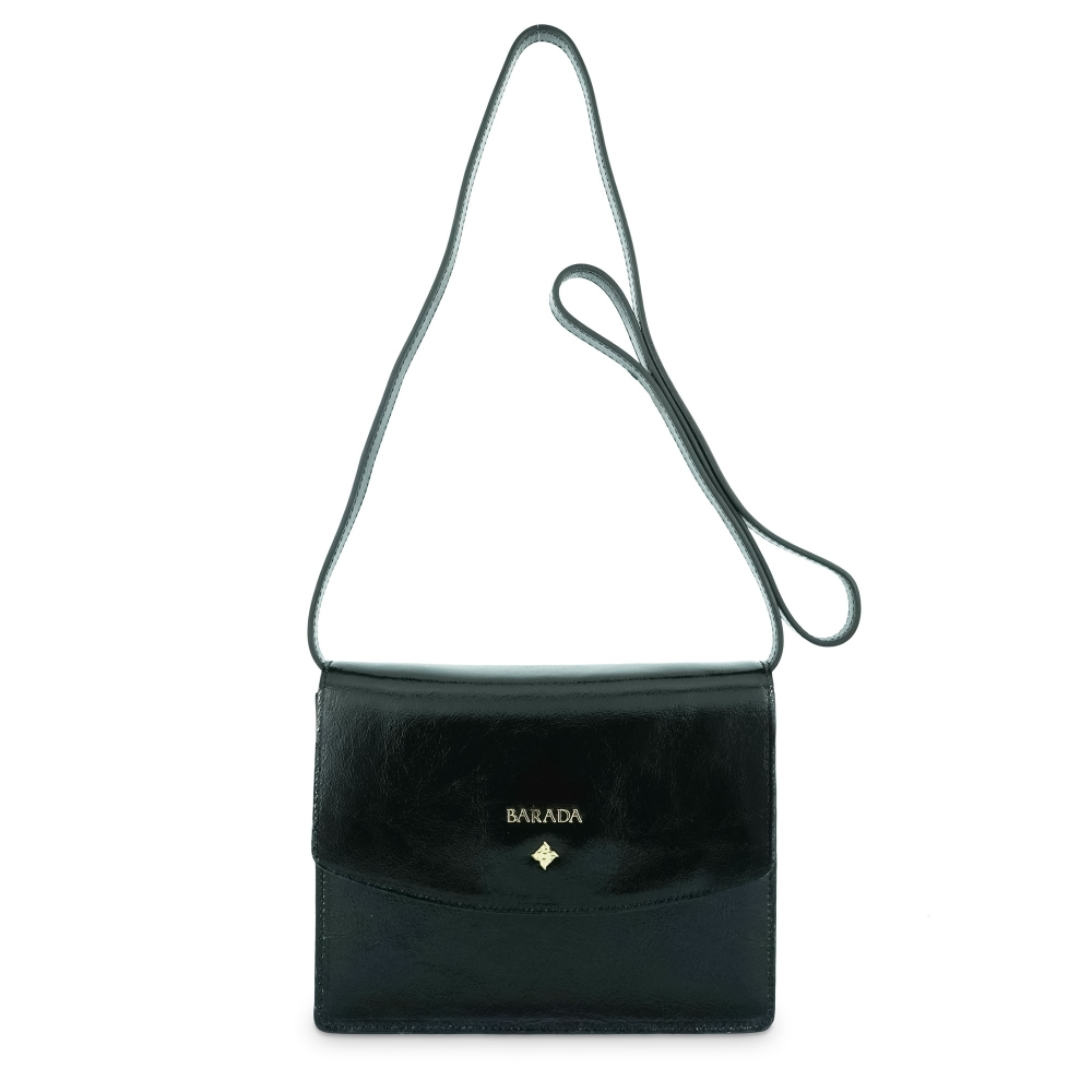 Cross body bag Collection Morgana in Wrinkled Patent leather (Calf) and Black colour
