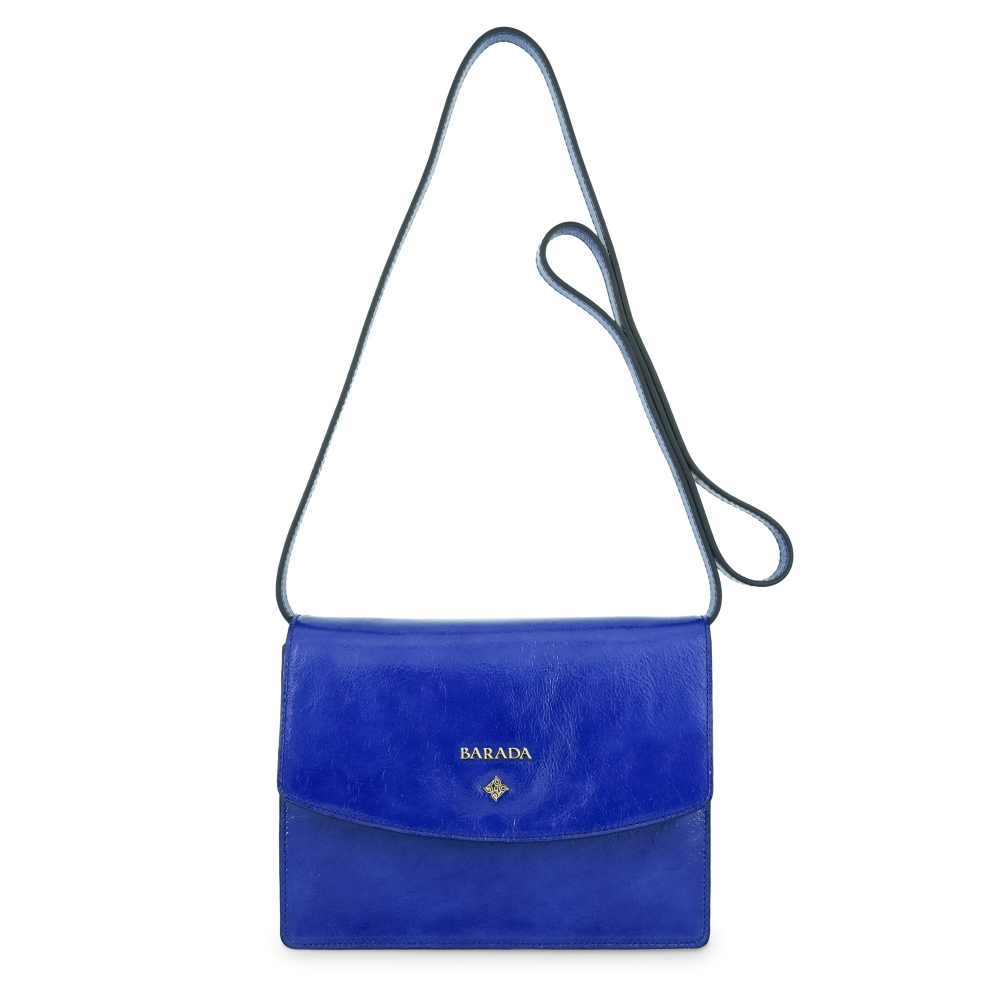 Cross body bag Collection Morgana in Wrinkled Patent leather (Calf) and Blue colour