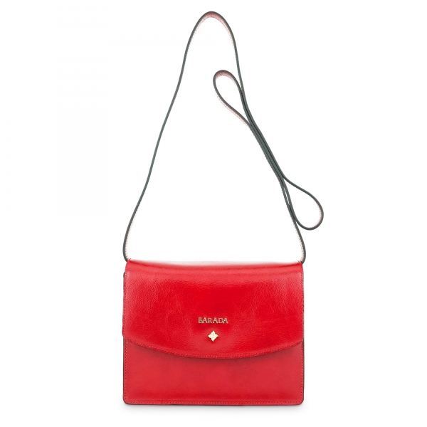 Cross body bag Collection Morgana in Wrinkled Patent leather (Calf) and Red colour