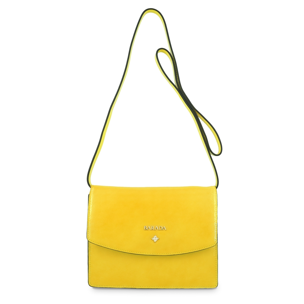 Cross body bag Collection Morgana in Wrinkled Patent leather (Calf) and Yellow colour