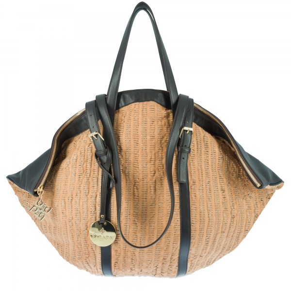 Shoulder Bag Collection Rocío in Perforated leather (Lambskin) and Tan/Moka colour