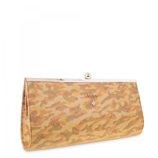 Shoulder Bag Style 234 in Military print leather (Calf) and Orange colour Military Print