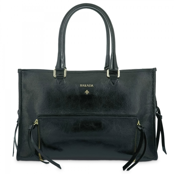 Top handle handbag Style 320 in Wrinkled Patent leather (Calf) and Black colour