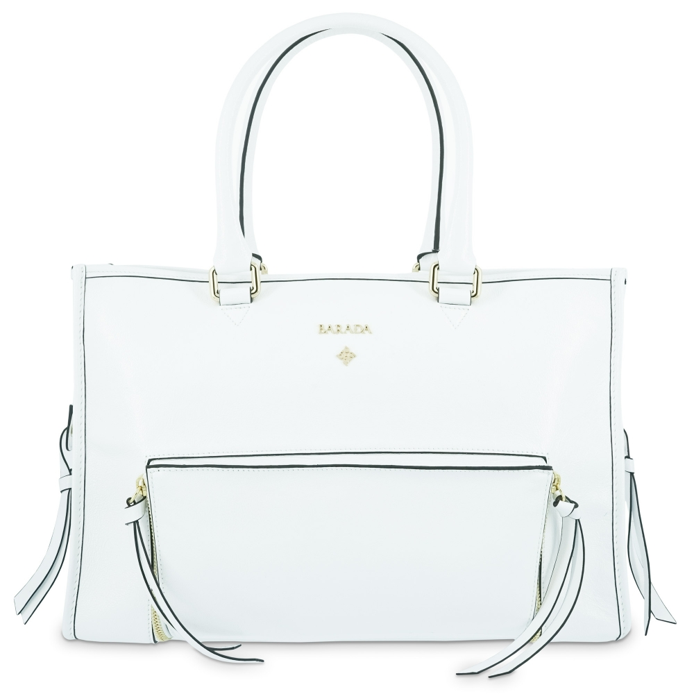 Top handle handbag Style 320 in Wrinkled Patent leather (Calf) and White colour