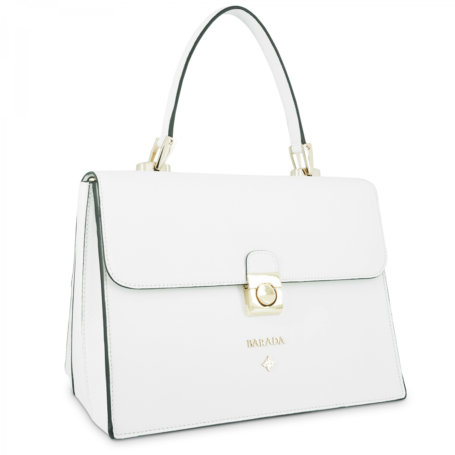 Top Handle Handbag Style 321 In Seta Leather Calf And White Colour