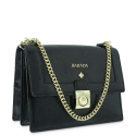 Shoulder bag Style 322 in Wrinkled Patent leather (Calf) and Black colour