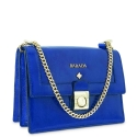 Shoulder bag Style 322 in Wrinkled Patent leather (Calf) and Blue colour