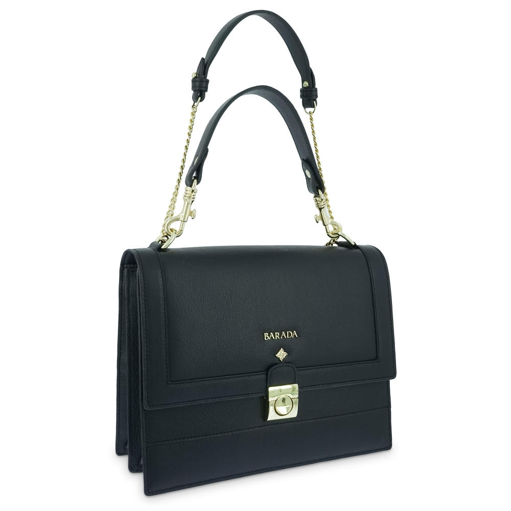 Top handle handbag Style 323 in Setta Leather (Calf) and Black colour