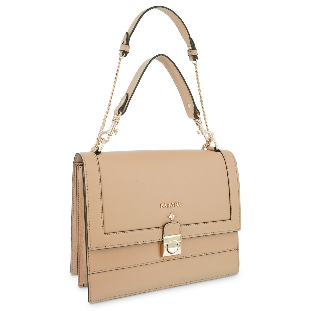 Top handle handbag Style 323 in Setta Leather (Calf) and Beige colour