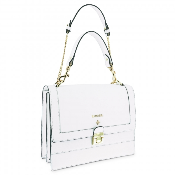 Top handle handbag Style 323 in Setta Leather (Calf) and White colour