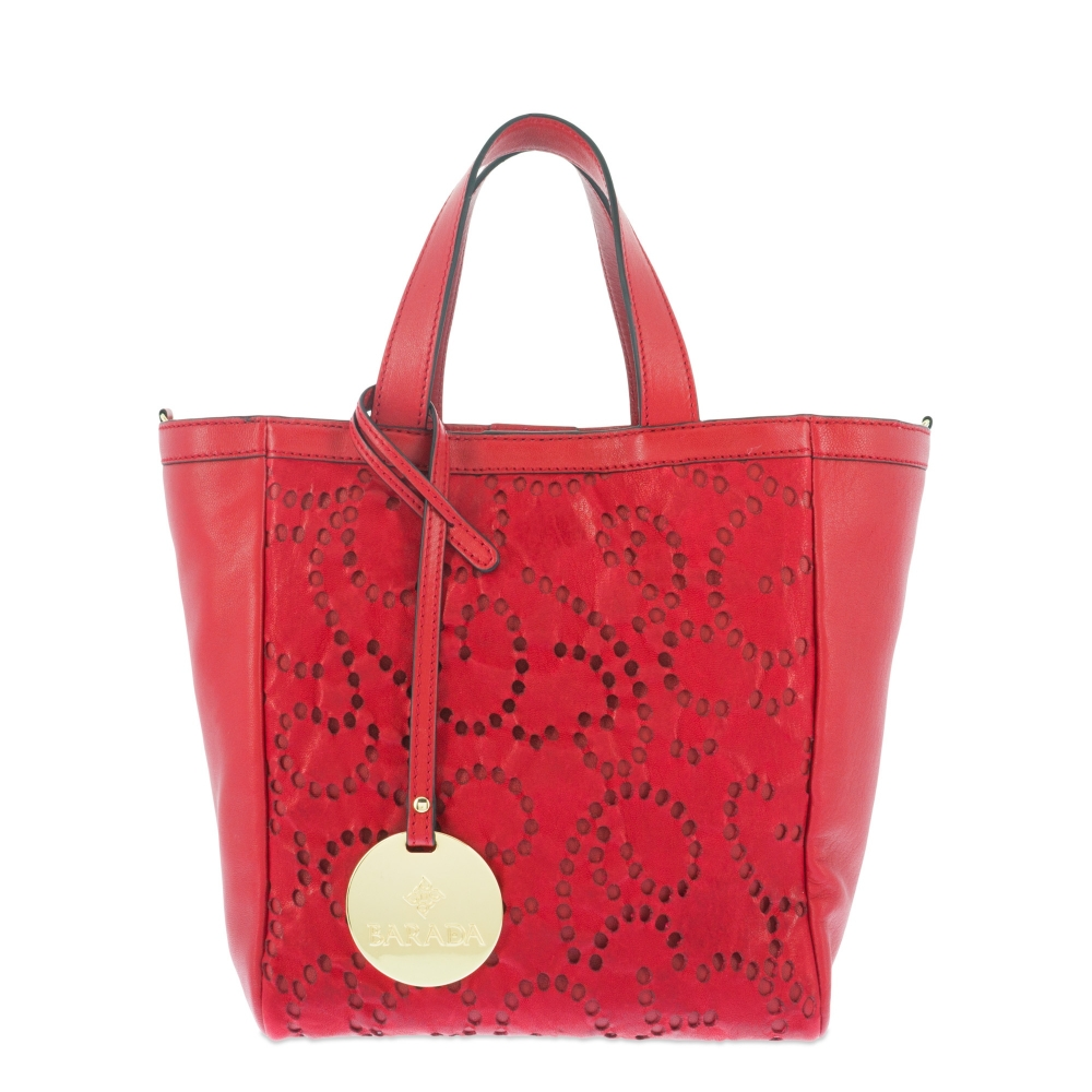 Top handle handbag Style 325 in Perforated leather (Lambskin) and Red colour