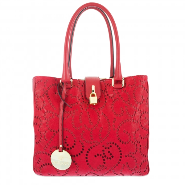 Shoulder bag Style 337 in Perforated leather (Lambskin) and Red colour
