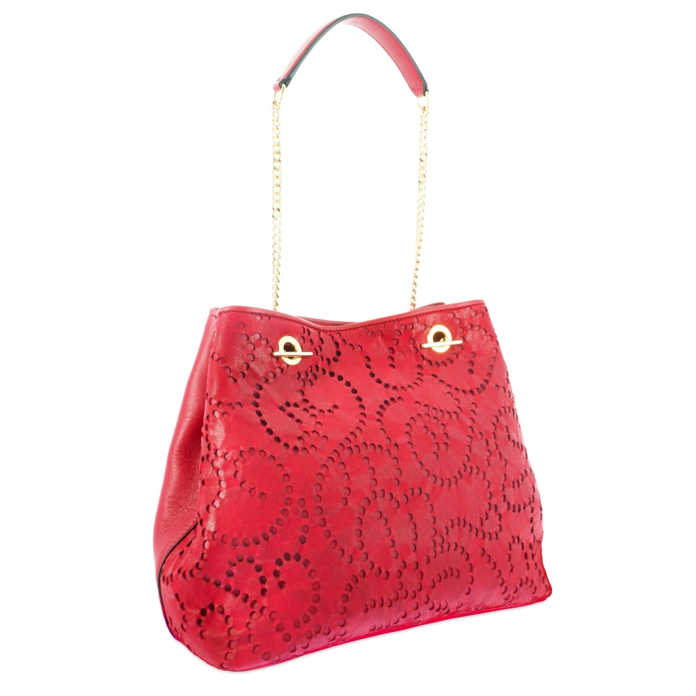 Shoulder bag Style 338 in Perforated leather (Lambskin) and Red colour