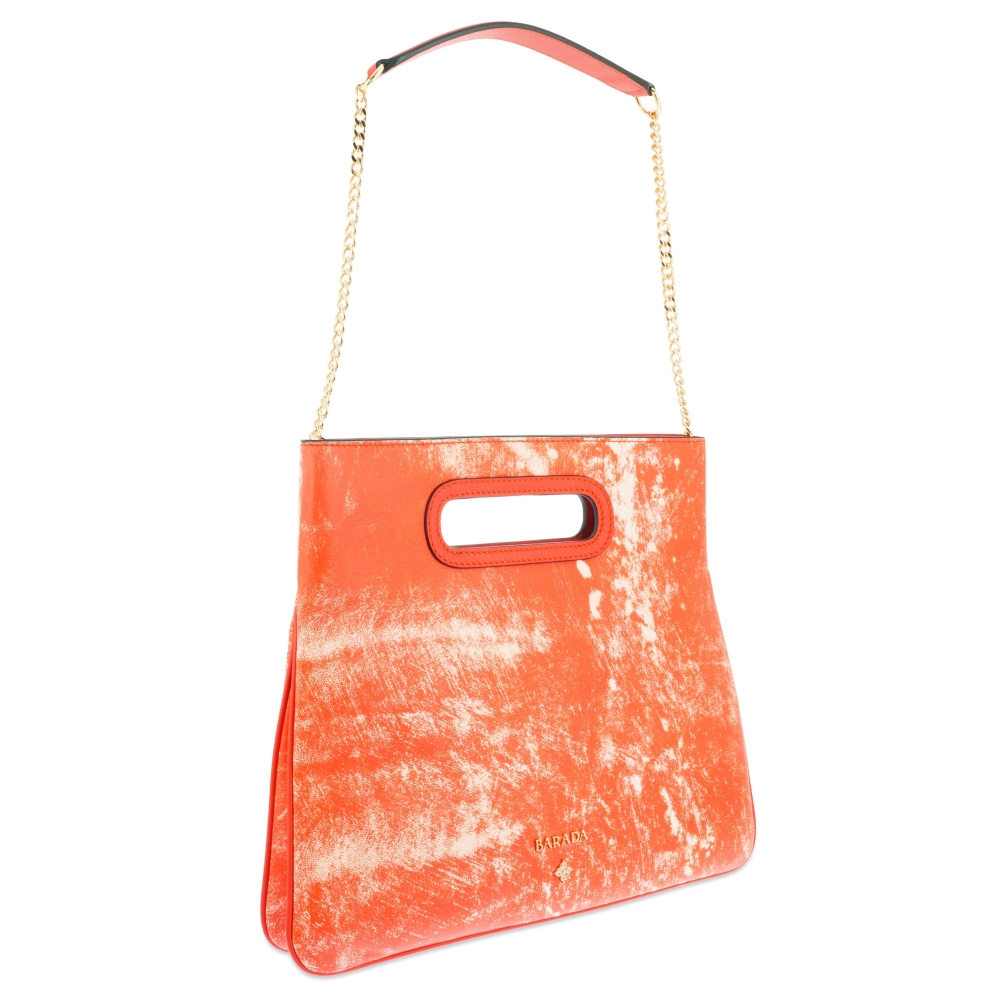 Top Handle handbag Style 339 in Colibrí leather (Lambskin) and Orange colour