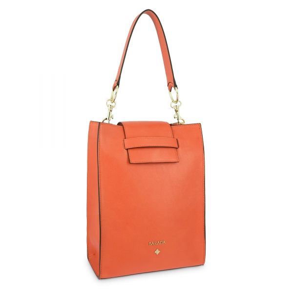Shoulder bag Style 340 in Napa leather (Lambskin) and Orange colour