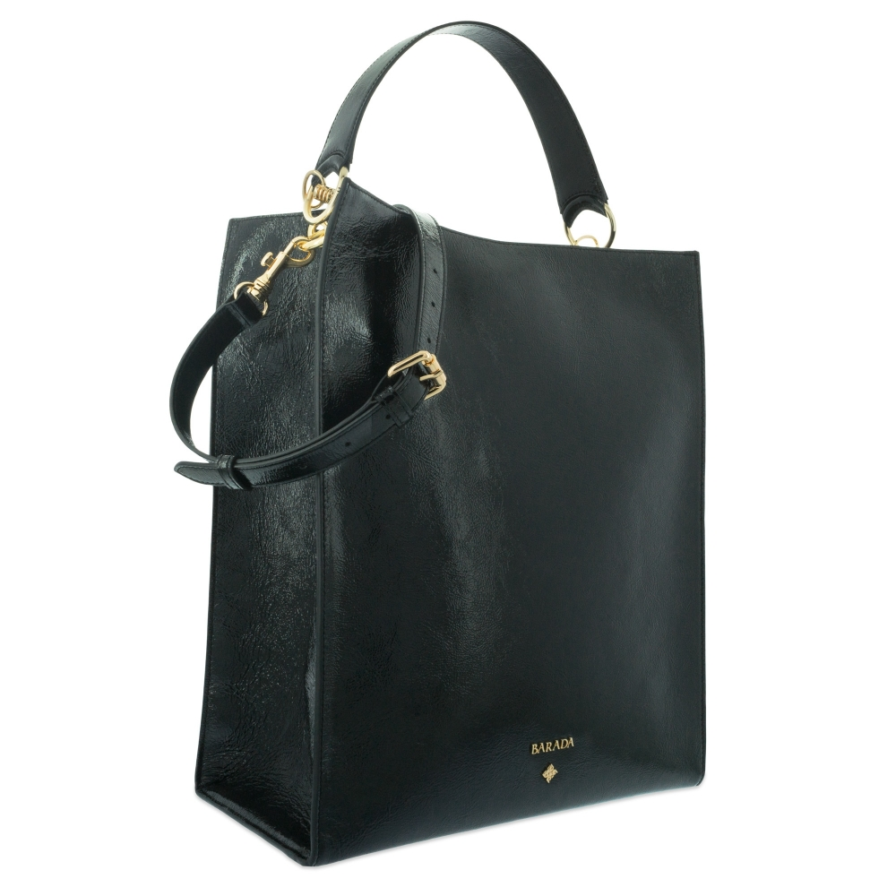 Shoulder bag Style 341 in Wrinkled Patent leather (Calf) and Black colour