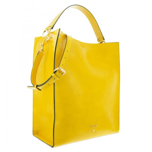 Bolso de Hombro Modelo 341 en piel Charol arrugado (Vacuno) y color Amarillo