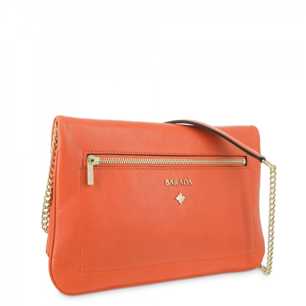 Cross over bag Style 343 in Napa leather (Lambskin) and Orange colour