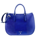 Handbag Style 345 in Wrinkled Patent leather (Calf) and Blue colour