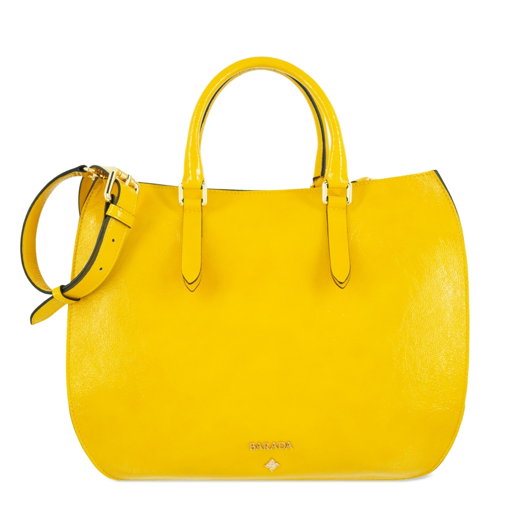 Handbag Style 345 in Wrinkled Patent leather (Calf) and Yellow colour