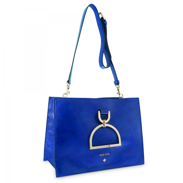 Crossover bag Style 346 in Wrinkled Patent leather (Calf) and Blue colour