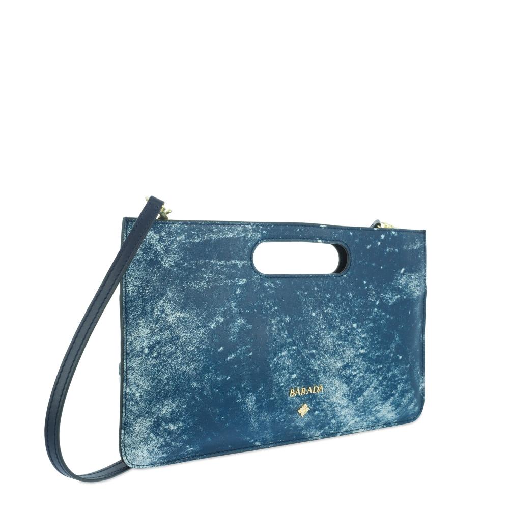Bolso de Mano Modelo 347 en piel Colibrí (Cordero) y color Azul