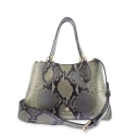Shoulder Bag in Calf leather and Snake print effect colour