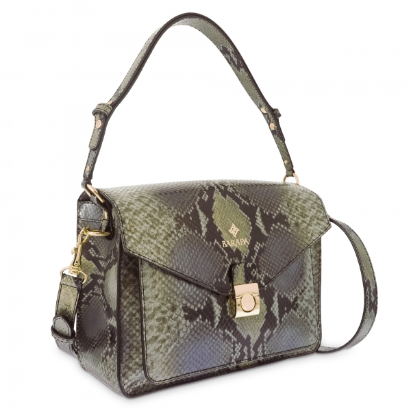 Shoulder Bag in Calf leather and natural Snake print effect colour