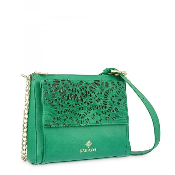 Shoulder Bag in Lamb Skin and Green colour