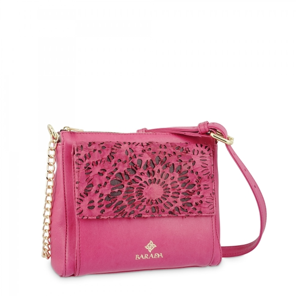 Shoulder Bag in Lamb Skin and Pink colour