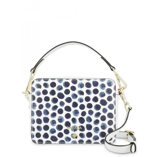 Mini Bolso en piel Cordero y color Blanco con topos azules