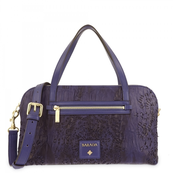 Shoulder strapped Bag in Calf leather and Blue colour