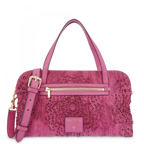 Shoulder strapped Bag in Calf leather and Fuchsia Pink colour