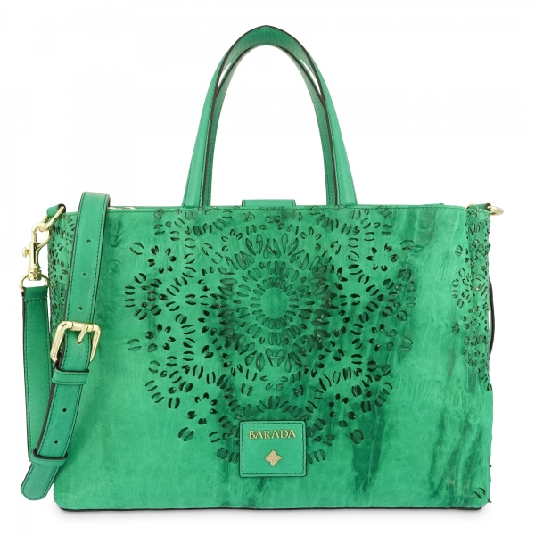 Medium Tote Handbag in Calf leather and Green colour