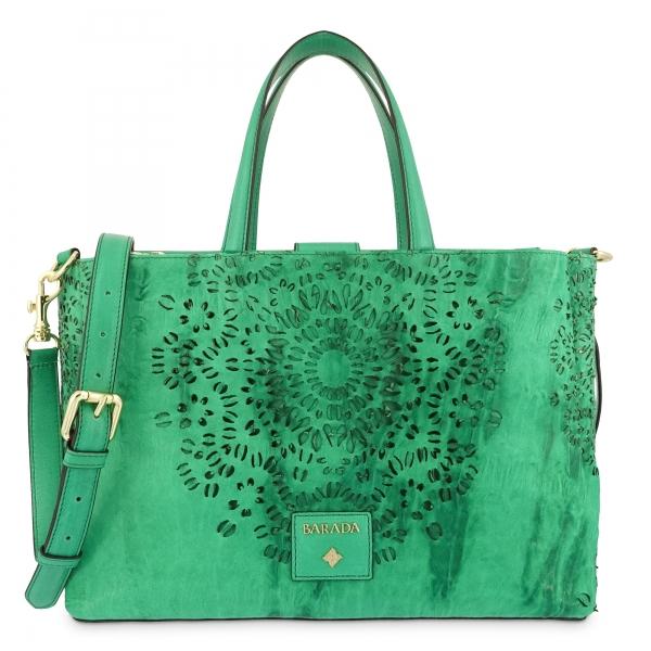 Medium Tote Handbag in Calf leather and Green colour