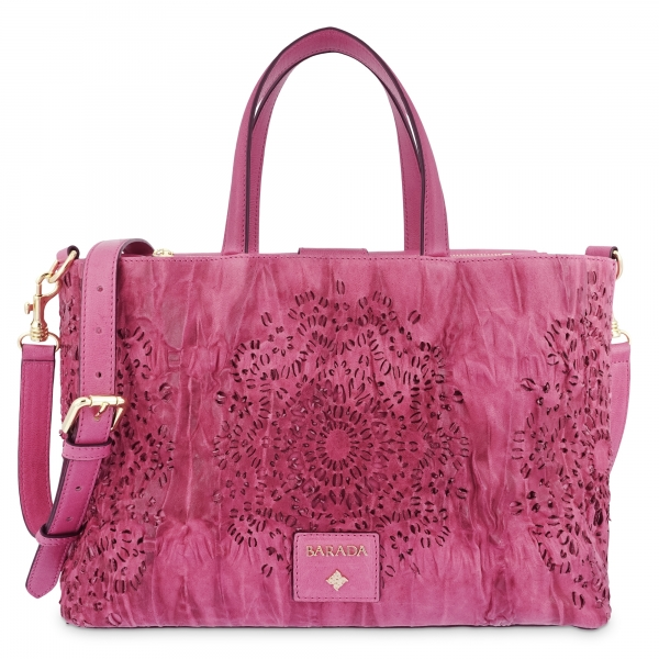 Medium Tote Handbag in Calf leather and Fuchsia Pink colour