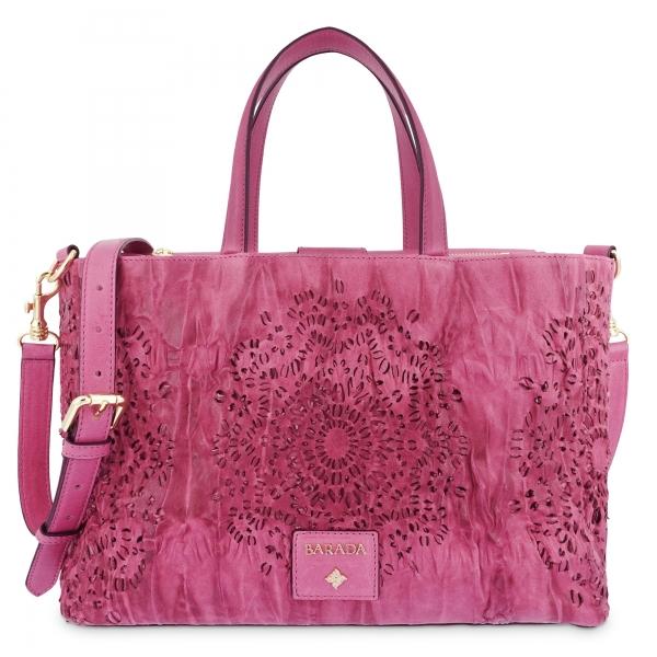 Medium Tote Handbag in Calf leather and Fuchsia Pink colour