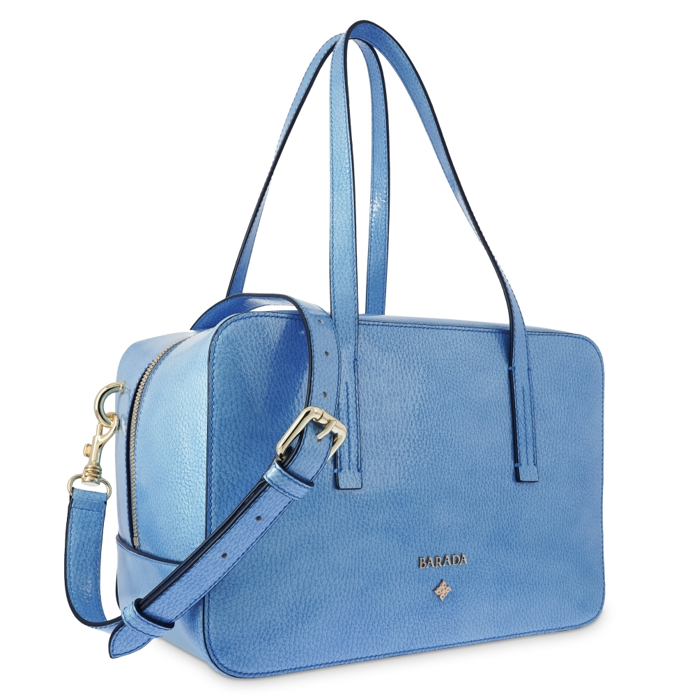 Shoulder Bag in Calf leather (Grainy Patent) and Light Blue colour