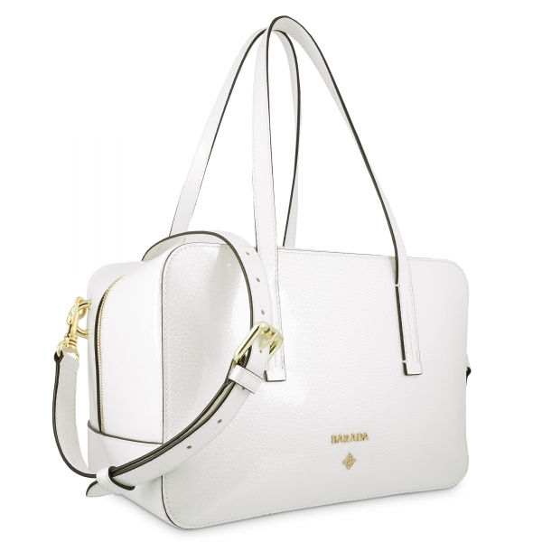 Shoulder Bag in Calf leather (Grainy Patent) and White colour