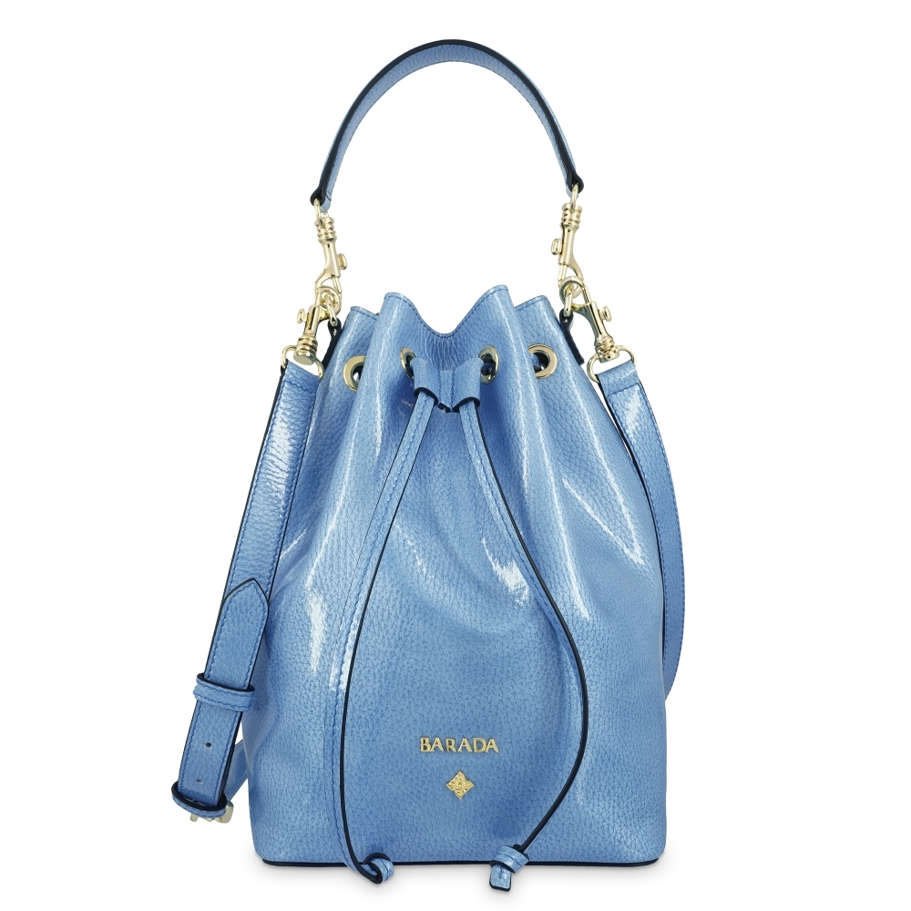 Wristlet Bag in Calf leather (Grainy Patent) and Light Blue colour