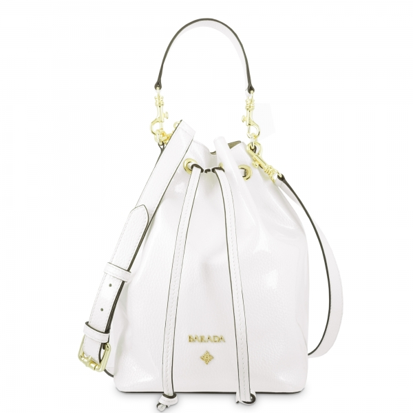 Wristlet Bag in Calf leather (Grainy Patent) and White colour