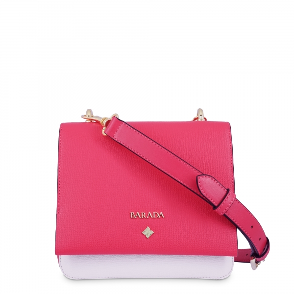 Crossbody Bag in Calf leather and Fuchsia Pink / White colour