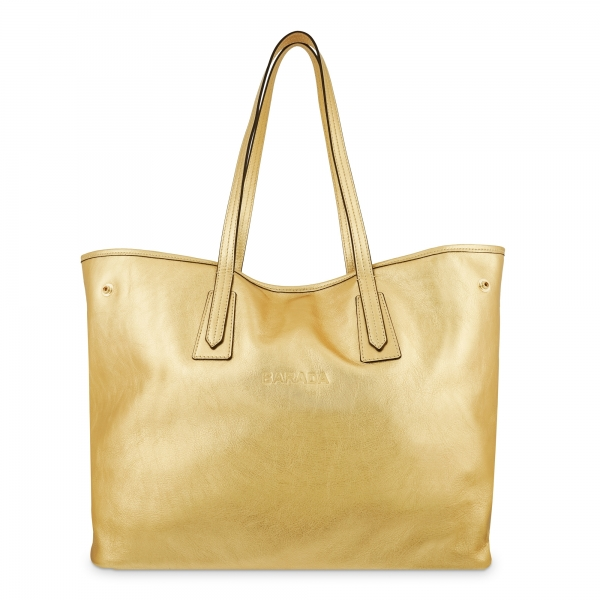 Leather Shopping Bag in Gold Color - Barada