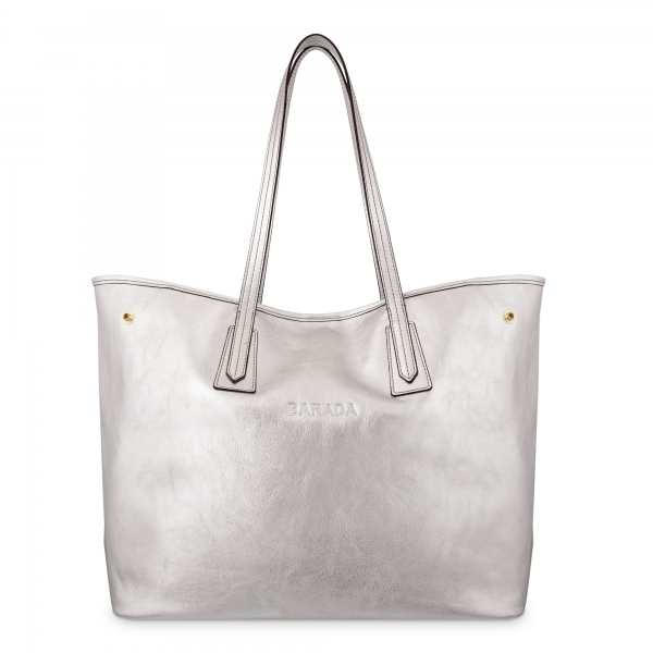 Leather Shopping Bag in Silver Color - Barada