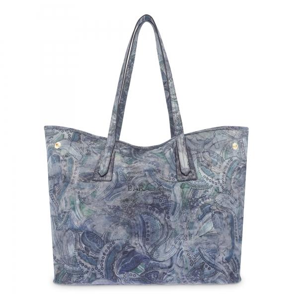 Bolso Shopping de Piel en Color Azul Barada