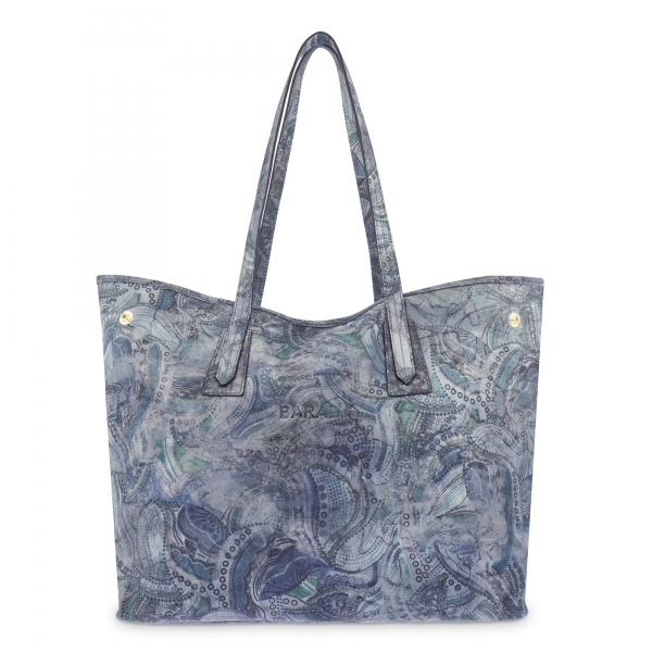 Leather Shopping Bag in Printed Blue Color - Barada