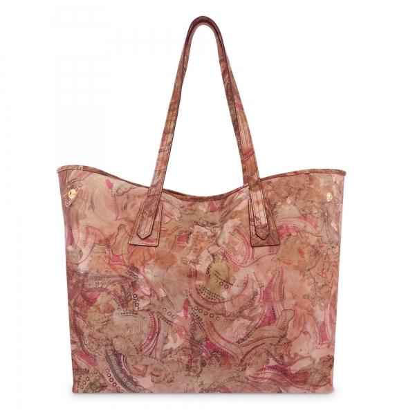 Leather Shopping Bag in Printed Red Color - Barada