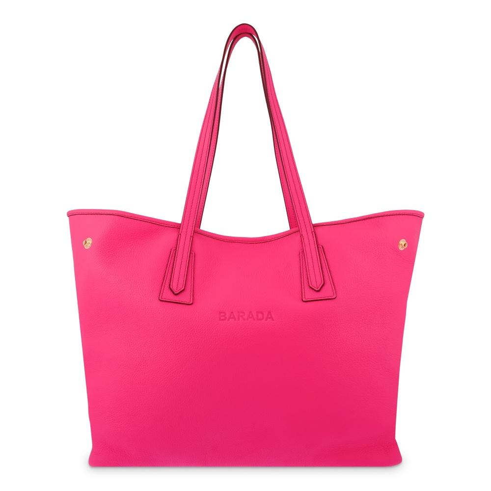 Leather Shopping Bag in Fuchsia Color - Barada