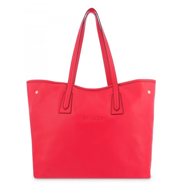Bolso Shopping de Piel en Color Rojo Barada